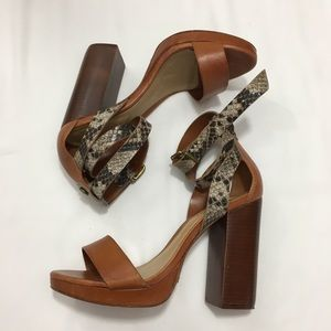 Shoes - Schutz kauana Strap Heel Brown Snake Print Sandal